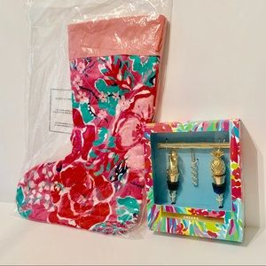 Lily Pulitzer CHEERS Wine Set & Christmas Stocking